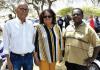 Lupe Martis, presidente di Fundashon Antriol Avanti, Hubert Vis di Fundashon Nawati i Bubui Goeloe di Komishon Tera Kòrá