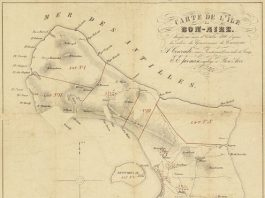 E mapa aki di 1868 ta mustra kon Hulanda a parti Boneiru den parselanan enorme pa bende ku personanan partikular. Bolivia tabata parsela nr. IV.